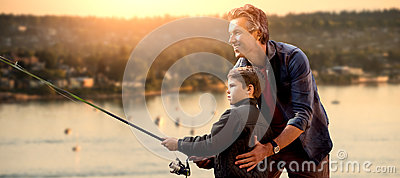 Composite image of father teaching his son fishing