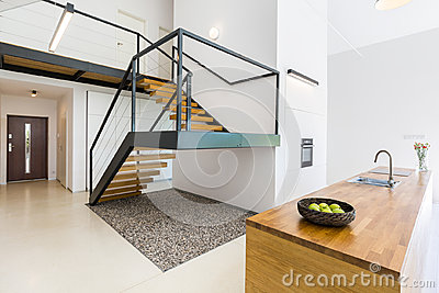 Modernistic interior with massive staircase