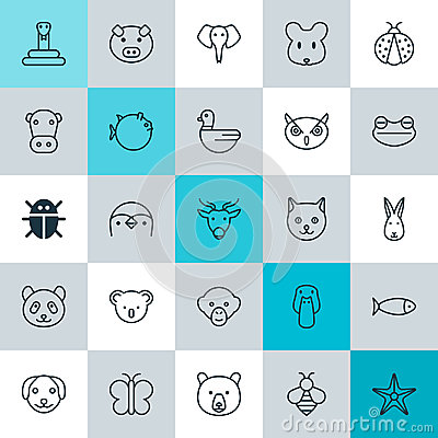 Zoology Icons Set. Collection Of Bunny, Duck, Rat And Other Elements. Also Includes Symbols Such As Moth, Bear, Pussy.