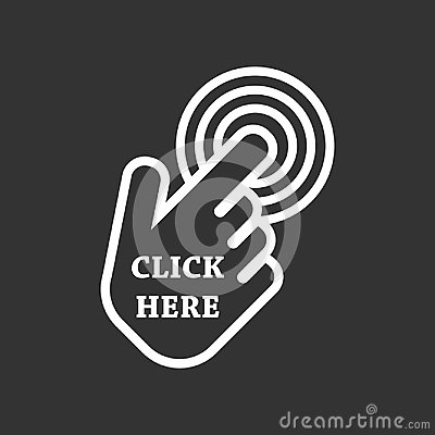 Click here icon. Hand cursor signs. Black button flat vector ill