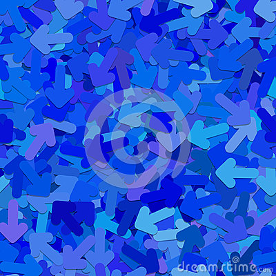 Abstract seamless random arrow background pattern - vector illustration from rotated rounded arrows in blue tones