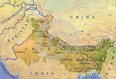 stock image of geographic map of india, nepal, bhutan and bangladesh with important cities