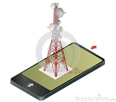 Vector satellite tower in mobile phone, transmission isometric tower.