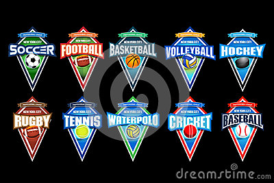 Mega set of colorful sports logos soccer, football, basketball, volleyball, hockey, rugby, tennis, waterpolo, cricket, baseball.