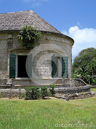 Old Stone Plantation Building in Tropical Setting