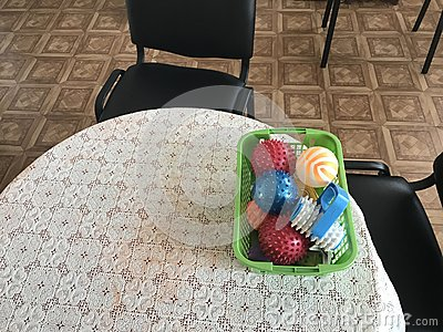 Equipment of the room of therapeutic physical training. Objects and adaptations for the development of fine motor skills of hands