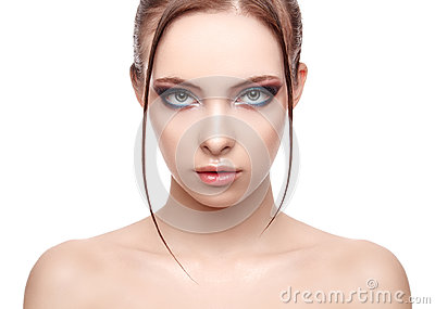 Beautiful spa model girl with perfect fresh clean skin, wet effect on her face and body, high fashion and beauty portrait