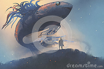 Giant fish floating in the sky above man in black cloak