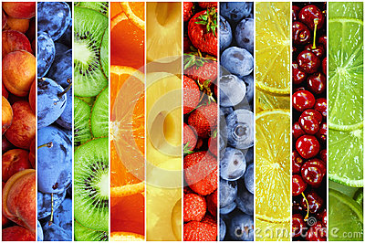 Collage of fresh summer fruit in the form of vertical stripes