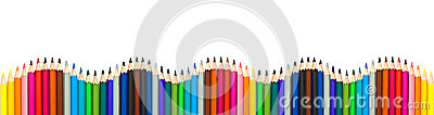 Wave of colorful wooden pencils isolated on white, panoramic background, back to school concept