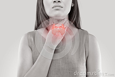 stock image of women thyroid gland control.