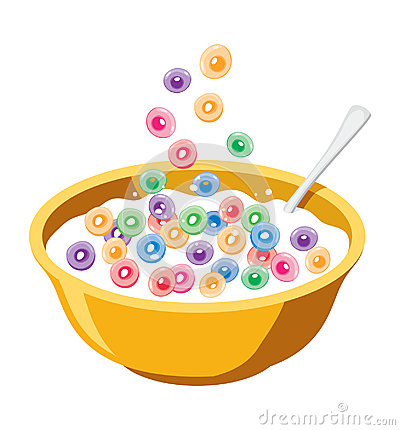 Yellow bowl with cereals in milk, vector