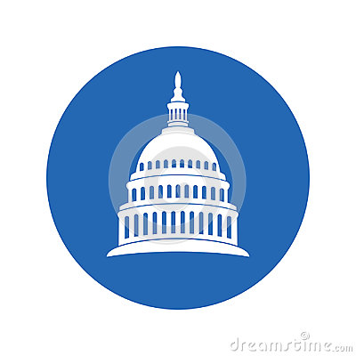 Icon of united states capitol hill building washington dc. vector