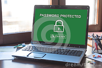 Password protected concept on a laptop screen
