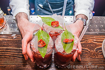 Three Bloody Mary Cocktails