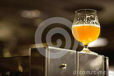 Glass of pale ale in a brewery