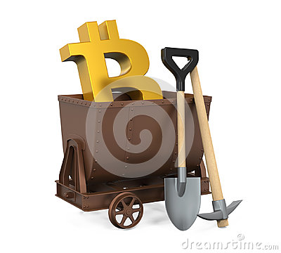 Mining Cart, Pick Axe, Shovel with Bitcoin Symbol Isolated