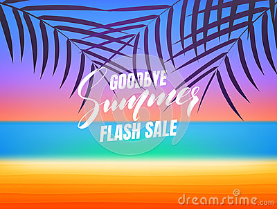 Summer sale. Goodbye summer flash sale banner. Background with tropical beach and palms