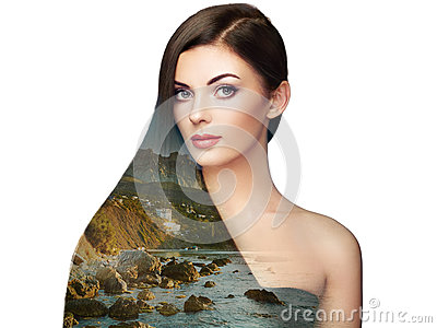 Double exposure photo of beautiful woman with long hair