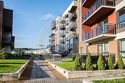 New modern apartment complex in Vilnius, Lithuania, modern low rise european building complex with outdoor facilities.