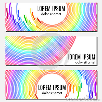 Set of colorful rainbow abstract header banners with curved lines and place for text.