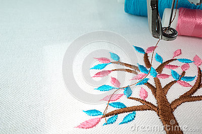 Embroidery machine and  two threads