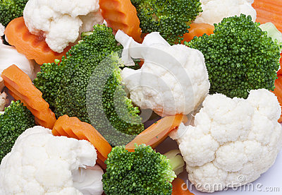 detail of broccoli, carrot and cauliflower