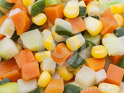 Detail of carrot, potato, pumpkin and corn kernels