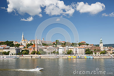 View across the River Danube towards the Fisherman`s Bastion in