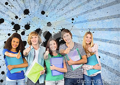 Happy young students holding folders against blue splattered background