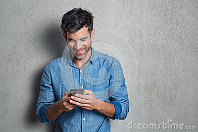 Man texting on phone