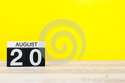 August 20th. Image of august 20, calendar on yellow background with empty space for text. Summer time