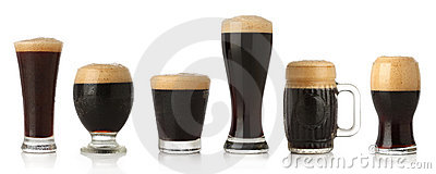 Different glasses of stout beer