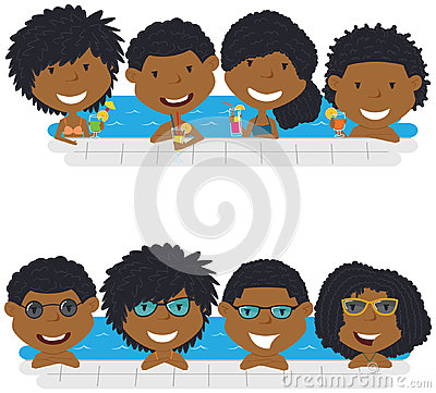 Young African American teens having fun in outdoor swimming pool