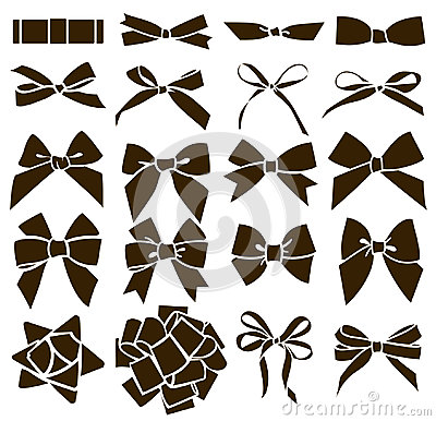 Vector set of decorative bow silhouette.