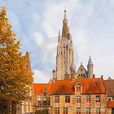 Gothic tower of Church of Our Lady in Bruges is the second tallest brickwork tower in the world