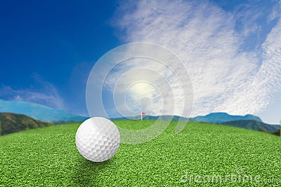Golf ball on grass nature