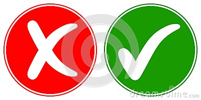 Icons Check mark tick and Cross Cancel, vector concept words OK and NO, approved and rejected sign