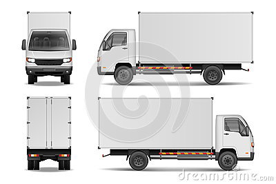 White realistic delivery cargo truck. Lorry for advertising side, front and rear view isolated on white background