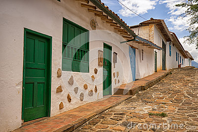 Colonial street in Barchara Colombia