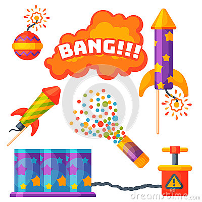 Fireworks pyrotechnics rocket and flapper birthday party gift celebrate vector illustration festival tools