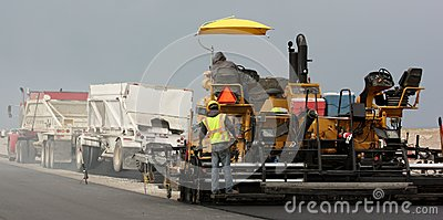 Paving with trucks