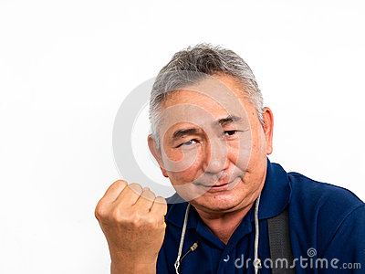 Portraits of elderly asian man has confidence