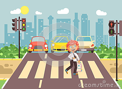 Vector illustration cartoon character child, observance traffic rules, lonely redhead boy schoolchild schoolboy go to