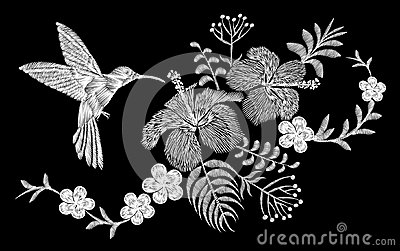 Hummingbird tropical embroidery flower arrangement. Exotic palm plant blossom summer jungle. Fashion print textile patch. Hawaii h
