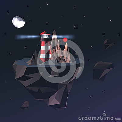 Low Poly Lighthouse in Space with Stars, Clouds, Mountains and Red Planet. 3D Render Illustration of Low Poly Beacon