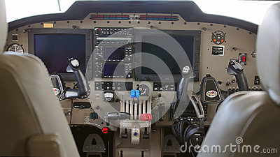 Interior of a twin engine plane during a test flight