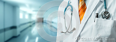 Man Doctor With Stethoscope In Coat. Global Healthcare Medicine Insurance Concept