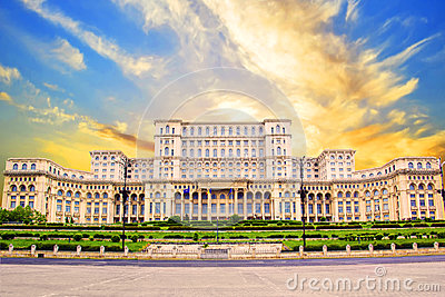 Beautiful view of the Palace of Parliament in Bucharest, Romania