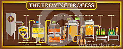 stock image of the brewing process info-graphic with beer design elements on brown background with golden frame